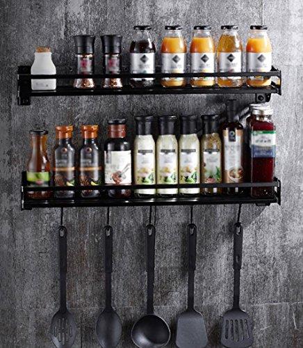 ZWL Rack de stockage de mur de cuisine, mode simple économisez l'espace Condiment stockage Rack cuillère Rack Espace noir en aluminium deux étages multifonction Taille: 50/60/70/80 * 15 Cm , une bonne aide pour le stockage de la cuisine ( taille : 80*15 )
