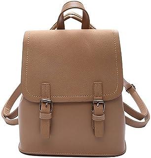 حقيبة ظهر جلدية للسيدات من Hanyuemin حقائب الكتب حقائب الأعمال للسيدات حقيبة الكمبيوتر المحمول (اللون: كاكي)
