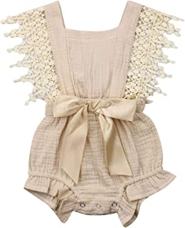 Newborn Infant Baby Girl Clothes Lace Halter Backless...