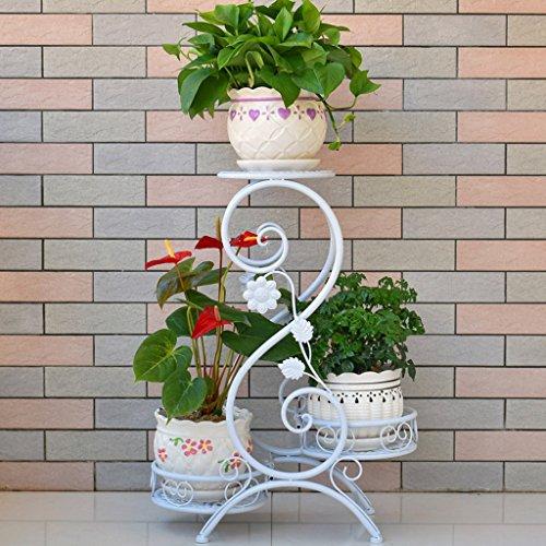 CKH De Style européen à Plusieurs étages en Fer forgé Balcon intérieur étage-Type Fleur rotin Salon Fleur Pots Vert Radis orchidée étagère (Color : White)