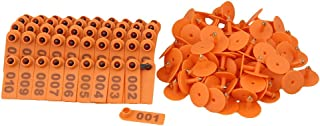 BQLZR Orange 1-100 Number Plastic Livestock Ear Tag Animal Tag for Goat Sheep Pig Pack of 100