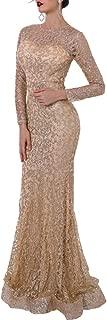 Women O Neck Long Sleeve Pattern Glitter Bling Maxi Elegant Dress