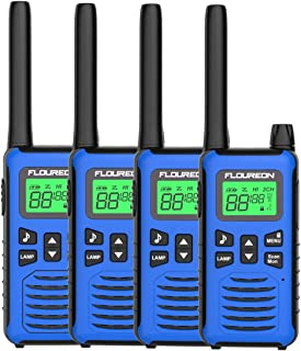 FLOUREON Walkie Talkies, 4PCS 16 Canales PMR 446MHZ con Alcance de hasta 5000 Metros/ 3.1Miles Interfono Portátil, Color Azul