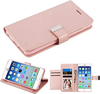 Case+Tempered_Glass, Fits Apple iPhone 7 Plus/8 Plus (Also Fits 6 Plus/6S Plus) Mybat 3-Layer Purse/Clutch with Extra Card Slots PU Leather MyJacket Wallet - Rose Gold