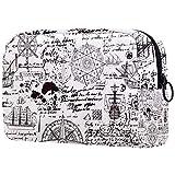Viejo Manuscrito con estilo vintage, neceser de cosméticos, bolsa de viaje portátil, bolsa de viaje con cremallera para mujeres y niñas