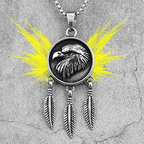NC110 Collares Largos de Plumas de águila India para Hombre, Cadena con Colgantes Punk para Novio, joyería de Acero Inoxidable para Hombre, Regalo Creativo YUAHJIGE