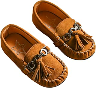 c3742b88f77 LINKEY Toddler Boys Grirls Suede Tassel Slip On Penny Loafers Flat Doug  Shoes Moccasins
