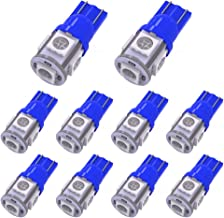 YITAMOTOR 10 PCS T10 Wedge 5-SMD 5050 Ultra Blue LED Light Bulbs W5W 2825 158 192 168 194 12V DC