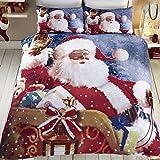 Tony's Textiles - Set Copripiumino - Babbo Natale con Slitta - Babbo Natale - Una Piazza e Mezza