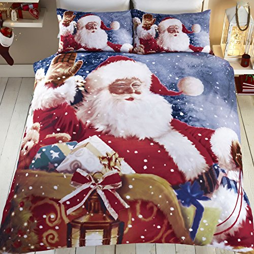Tony's Textiles Santa Claus Sleigh Father Christmas Quilt Duvet Cover Bedding Set (Single)