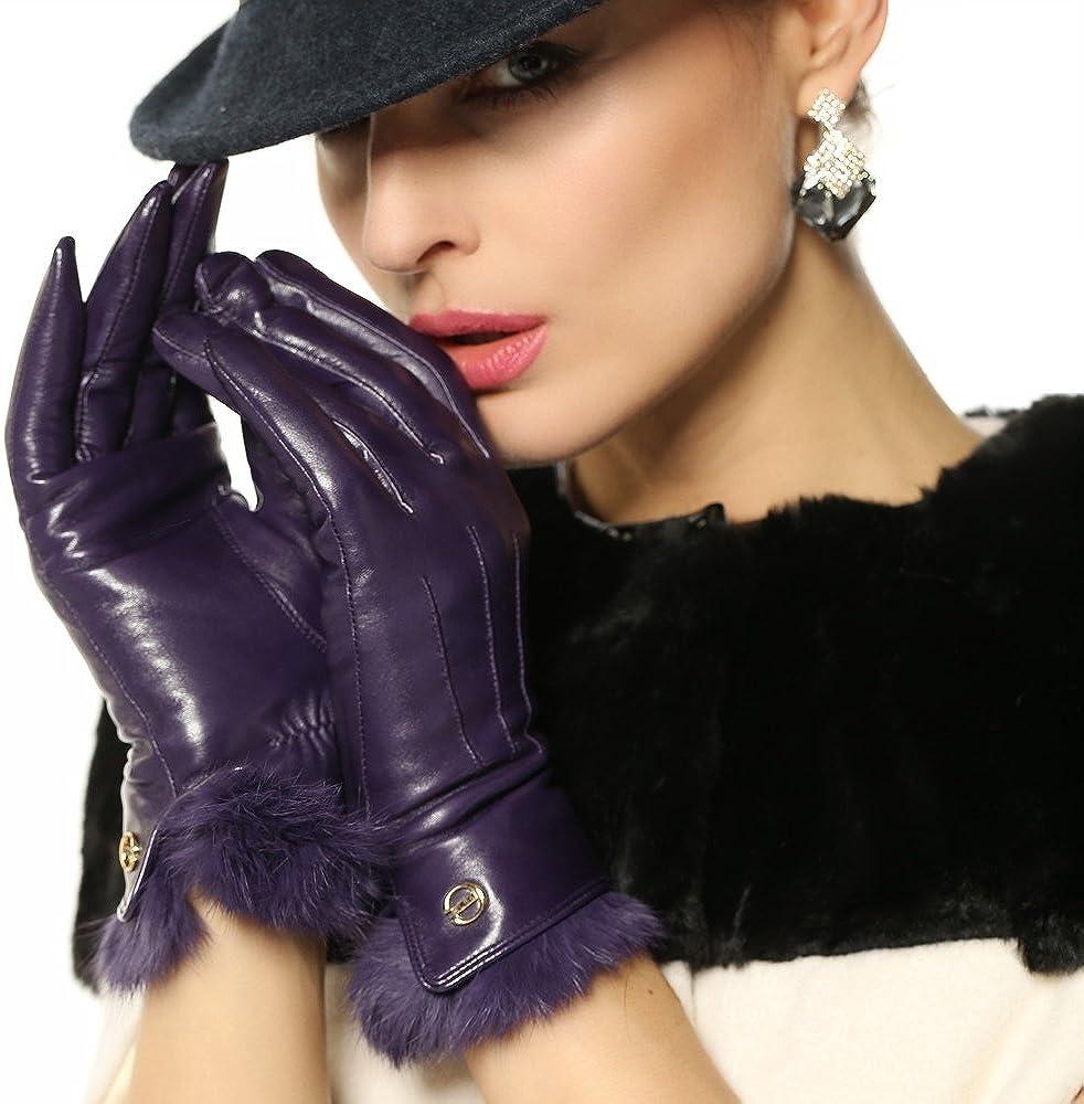 ELMA Supple Nappa Leather Gloves Rabbit Fur Cuff Cashmere Lining Gold Plated Logo