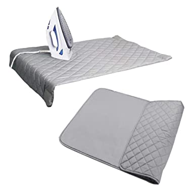 Houseables Ironing Blanket, Magnetic Mat Laundry Pad, 18.25 x32.5 , Gray, Quilted, Washer Dryer Heat Resistant Pad, Iron Board Alternative Cover