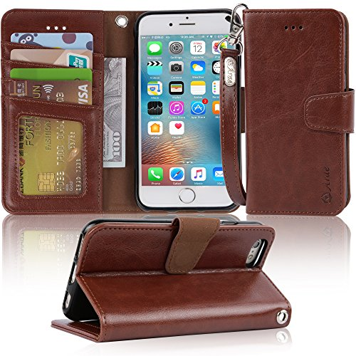 Arae Case for iPhone 6s / iPhone 6, Premium PU Leather Wallet case [Wrist Strap] Flip Folio [Kickstand Feature] with ID&Credit Card Pockets for iPhone 6s / 6 4.7 inch (Dark Brown)