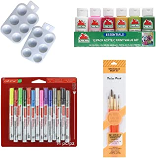 Rock Painting Kit - Bundle of 5 - Apple Barrel Acrylic Paint Essentials 12pk of 2 FL OZ Bottles, Craft Smart Paint pens Set 14 pc, Royal Langnickel Crafter's Choice Paint Brush Set of 4