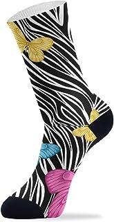 Calcetines de vestir para hombre y mujer, diseño de cebra con estampado de mariposas, color negro