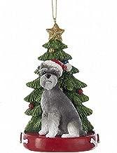 Kurt Adler Schnauzer with Christmas Tree ANE Lights Ornament for Personalization