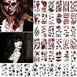 Halloween Tatuajes Temporales Tatuajes de Araña 40 Hojas Zombie Cicatrices Heridas Pegatinas Horror Sangrienta Tatuajes Pegatinas Halloween Maquillaje Disfraz decoraciones