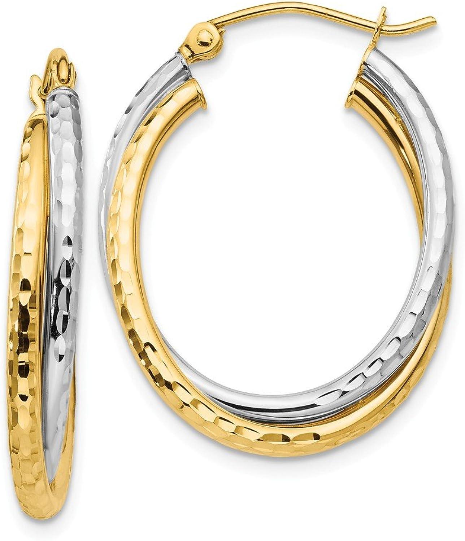 Beautiful White and yellow gold 14K Whiteandyellowgold 14k Twotone Diamondcut Polished Oval Hoop Earring