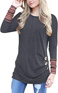 Women Long Sleeve Loose Button Trim Blouse Patchwork Round Neck Tunic T-Shirt