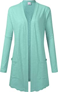 Women's Lightweight Thin Summer Longline Open Front Cardigans with Pocket Shrugs