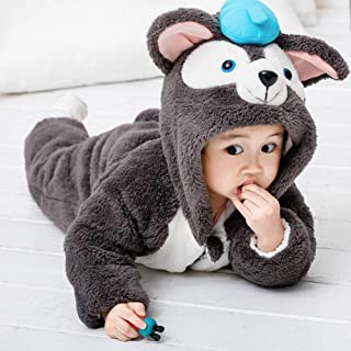 TZOU Baby Boy Girls Jumpsuit Newborn Toddler Hooded Rompers Cute Winter Clothing Cat one-Piece Suit Thickening Dark Gray 110cm