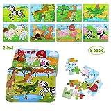 BBLIKE Kinderpuzzle, 8-In-2-Box 112pcs Kinder Tier Holzpuzzle Steckpuzzle Holz Montessori Spielzeug...