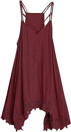 Womens Fashion Summer Shoulder Strap Lace Border Dress,FAPIZI Ladies Casual Sling Plus Size Loose Dress