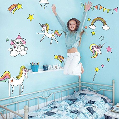 Stickerscape Unicorni e arcobaleni Adesivi murali | Adesivi murali Unicorno | Adesivi murali per Bambini