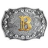Bai You Mei Letra inicial del alfabeto Hebilla del cinturón de la cabeza Hombres de metal Western Cowboy hebillas de cinturón B