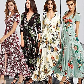 DENG&XUE Summer Women's Elegant V-Neck Floral Print Big Swing Bohemian Party Maxi Long Split Dress (Blue,XXL)
