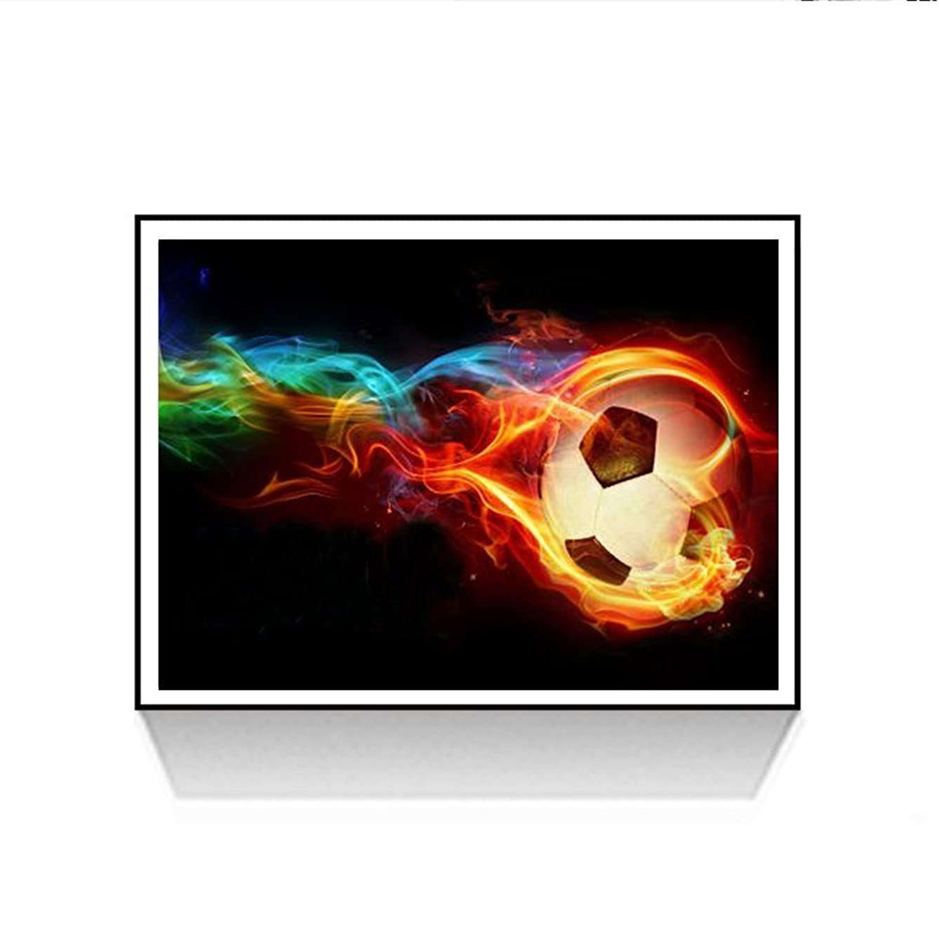 5D Diamond Painting Needlework Mosaic DIY Diamond Stitch Kit Embroidery for Bedroom Decor Gifts- Full Drill Cool Football Fire Soccer 30 x 40 cm/11.81 x 15.75inch