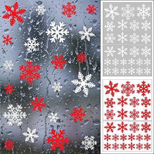 Shxstore Rot und Weiß Schneeflocke Fenster klammert Sich an Aufkleber Weihnachten Glas Statische Aufkleber für Urlaub Winter Dekoration Supplies