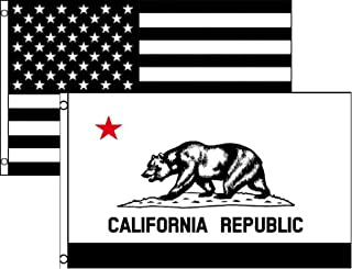 Ant Enterprises 3x5 3'x5' Wholesale Combo Black White USA & State of California 2 Flags Flag