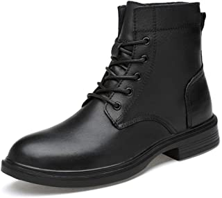 DIBAO Men's Stylish Ankle Boots Casual Comfortable And Soft High Top Outsole Boots(Warm Velvety Optional) (Color : Black, ...