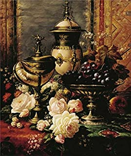 Oil Painting 'Classical Still Life With Flowers And Fruits', 16 x 19 inch / 41 x 48 cm , on High Definition HD canvas prints is for Gifts And Garage, Hallway And Kids Room Decoration, buy