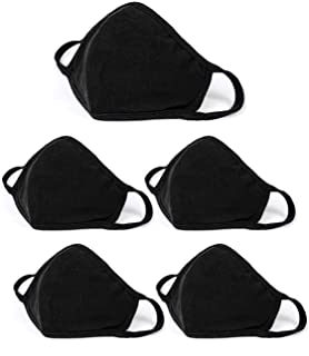 5 Pack Unisex Face Covering, Facial Covering with Adjustable Nose Wire,Black Dust Cotton, Washable And Reusable Cloth for Men and Women-US seller