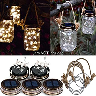 Homeleo 5 Pack Handmade Vintage Solar Mason Jar Lid Star Lights Burlap Hangers, Solar Powered Warm White Mason Jar Firefly Light for Outdoor Spring Garden Summer Backyard Decoration(Jars Not Included)