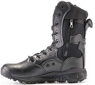 Bottes de Patrouille de Combat en Cuir Desert Desert Zip sur Le côté Chaussures de Travail Tactiques de la Police Militair...