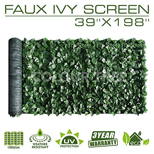 """ColourTree Artificial Hedges Faux Ivy Leaves Fence Privacy Screen Panels Decorative Trellis - Mesh Backing - 3 Years Full Warranty (39"""" x 198"""")"""