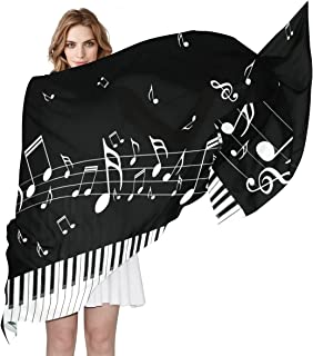 ALAZA Long Silk Like Scarf for Women Piano Keys With Musical