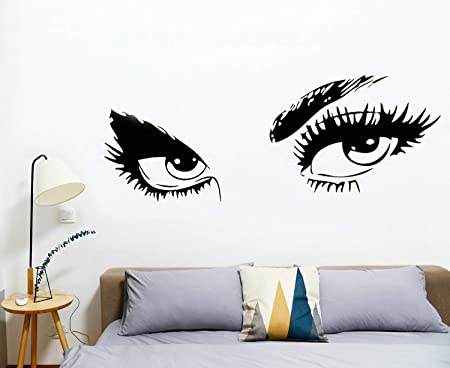 Amazon Com Hjaa Women Beautiful Eyes Wall Decals Big Eyes Wall Stickers Removable Vinyl Decor Wall Art For Living Room Bedroom Decoration Black 15 X17 Arts Crafts Sewing