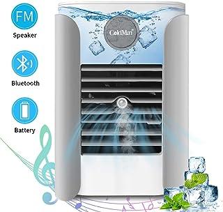 Aire Acondicionado Portátil, Con pilas Mini Enfriador de Aire, 5 en 1 LED humidificador refrigerado por agua ventilador de aire Altavoz Bluetooth Radio FM, adecuado para el hogar y la oficina