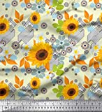 Soimoi Gelb Viskose Chiffon Stoff Blätter und Sonnenblumen