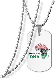 Jewelry Africa Is My DNA Dog Tag Military Zinc Alloy Pendant Necklace