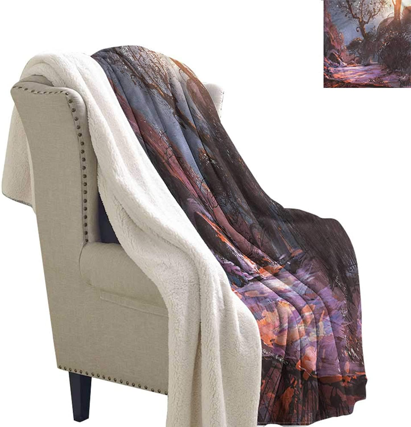 AndyTours Winter Quilt Winter Mystery Forest Artwork Blanket for Family and Friends W59 x L31