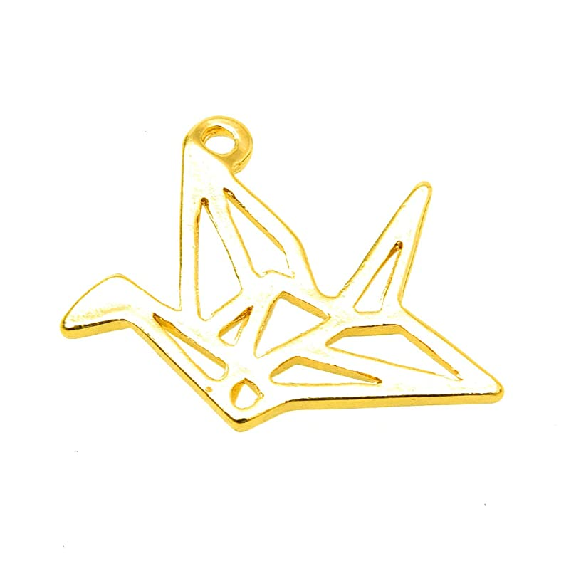 Monrocco 20 pcs Antique Gold Tone Origami Paper Cranes Charms for Jewelry Making 30x22mm