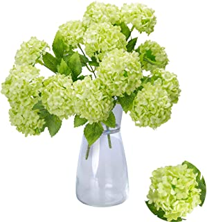 Greentime Artificial 7 Heads Hydrangea Flowers Fake 13 Inches Mini Silk Hydrangea Flowers Faux Tiny Hydrangea Bouquet for Wedding Home Table Centerpiece Party Decoration (Green)