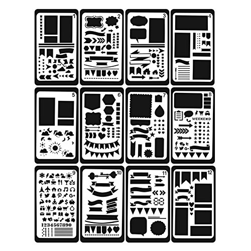 Dicrey 12 Pieces Journal Stencil Planner Stencils Painting Stencil Bullet Journal Stencil Template for Journal Scrapbook Notebook Diary Graffiti Card DIY Drawing Painting Craft Projects 4x7 Inch