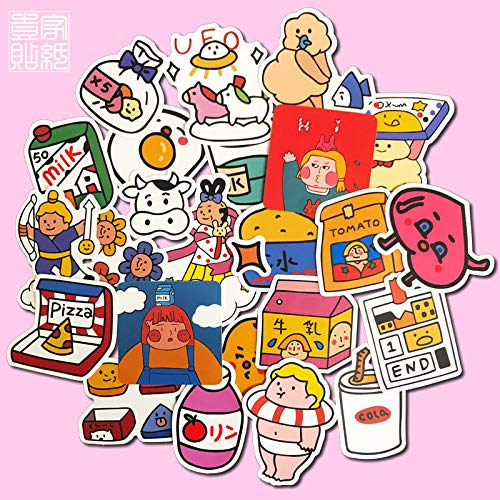 DSSJ 25 adorables Pegatinas de Dibujos Animados de niña, Pegatinas de computadora portátil, Caja de teléfono móvil, Cuentas de Mano, Pegatinas Impermeables
