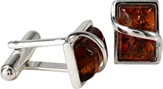 Sterling Silver and Baltic Honey Amber Cufflinks